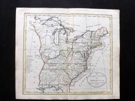 Guthrie 1788 Antique Hand Col Map. The United States of America. USA